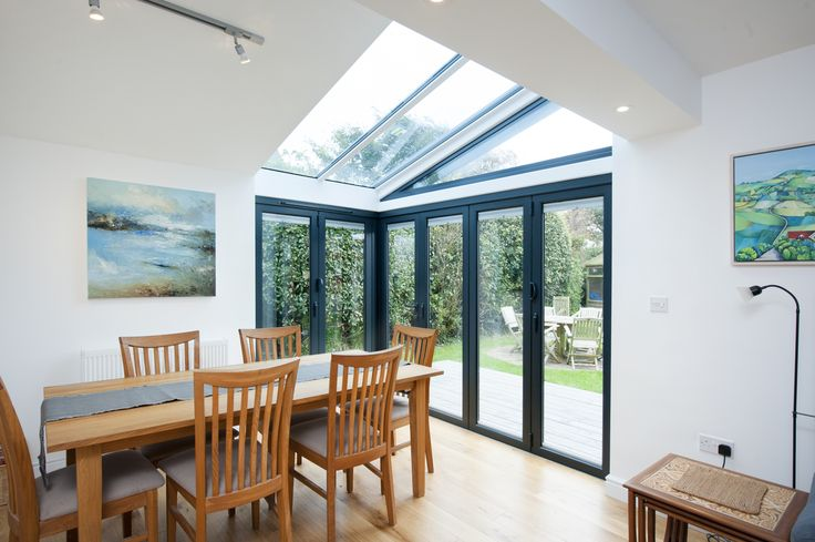 Bi fold doors in RAL 7015 Slate Grey with a cantilever roof system