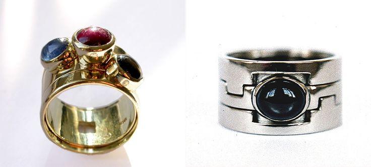 Trouwringen 'Star-ring her and star-ring him'   Geelgouden en witgouden trouwringen bezet met ster Saffieren en ster Robijnen. De ringen kunnen uit elkaar en passen weer in elkaars ring.