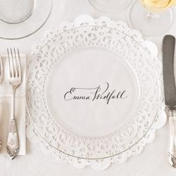 Clear plates with printed doilies underneath. Love.