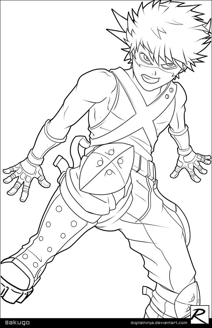 Line Art Bakugo By Digitalninja Coloring Pages Art