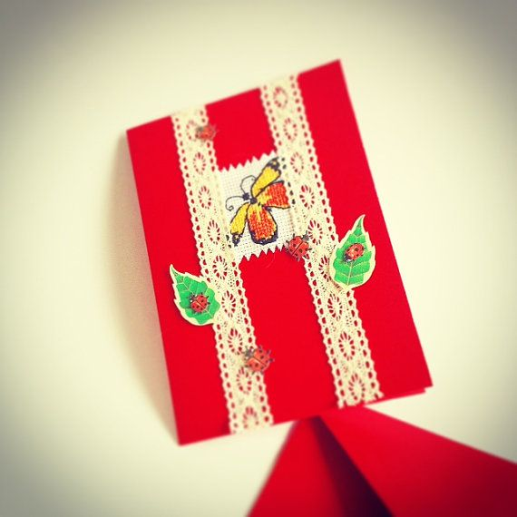 birthday card blank butterfly cards red cards by Monikagifts