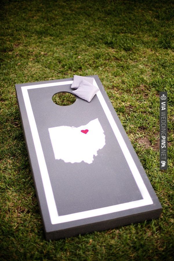corn hole game with state logos | VIA #WEDDINGPINS.NET