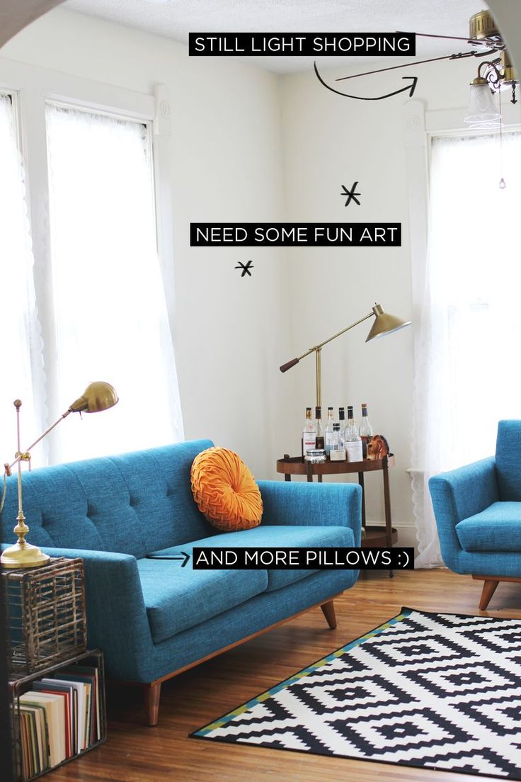 Love the bold color of the sofa. // Living Room Progress (A Beautiful Mess)   A Beautiful Mess