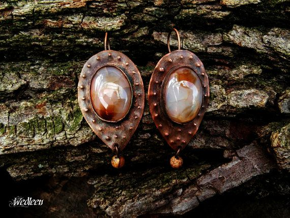 Copper earrings earrings dragon vein by JewellerybyWedleen on Etsy