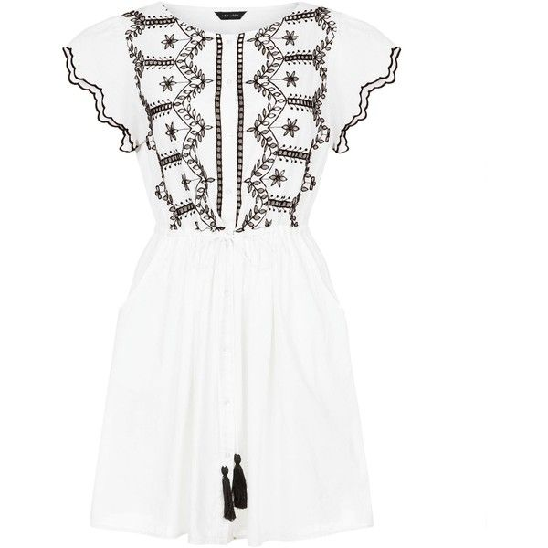 White Cut Out Short Sleeve Skater Dress (£13) ❤ liked on Polyvore featuring dresses, white skater dress, short-sleeve dresses, white dress, cut-out skater dresses and short sleeve dress