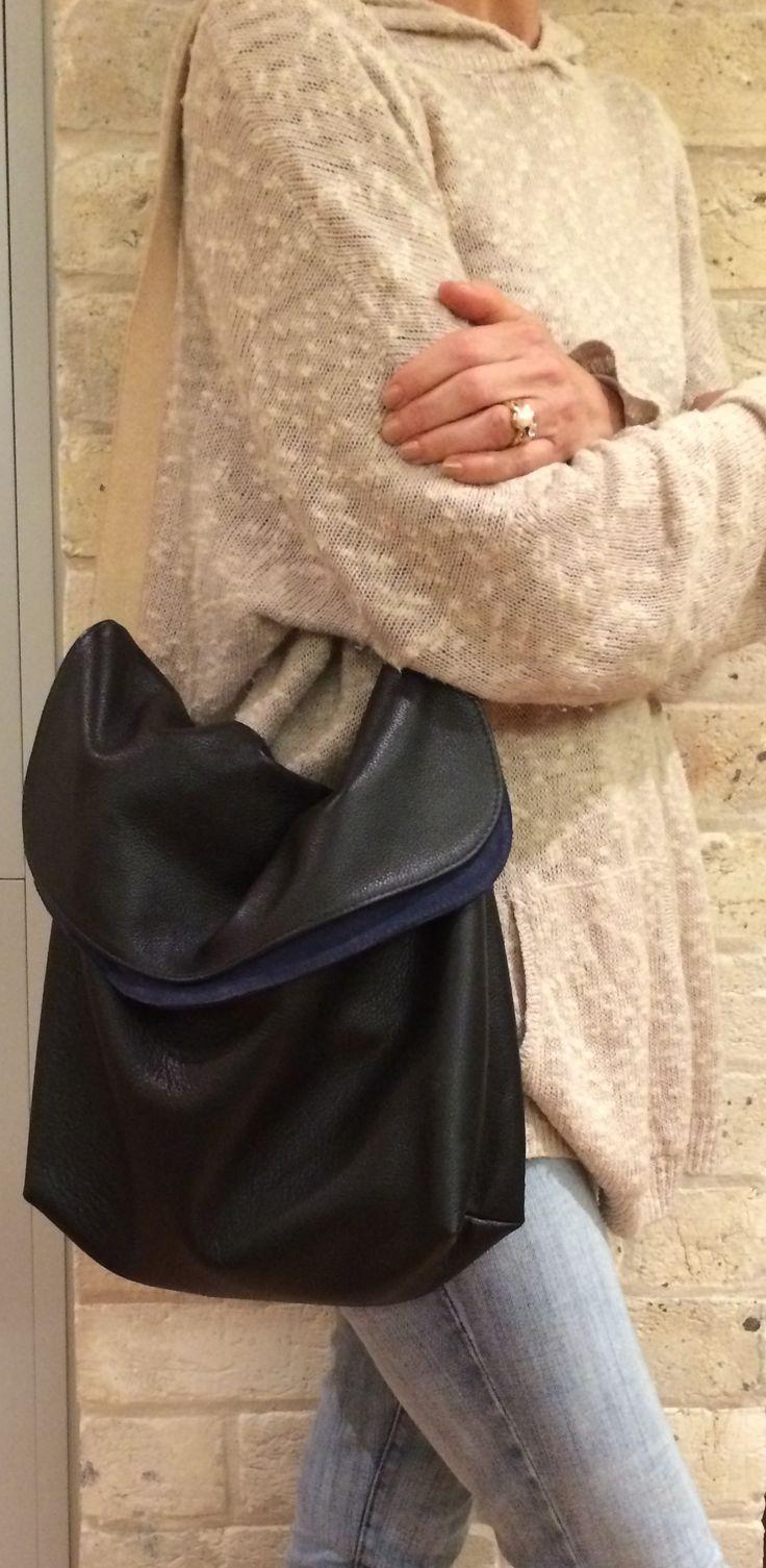 Chloe Bag in Italian Black leather lined in Navy Suede