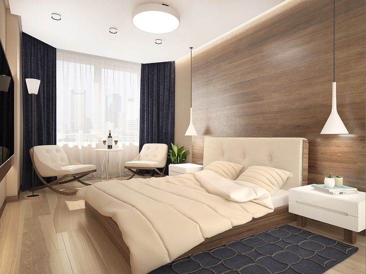 quarto de casal, painel de madeira