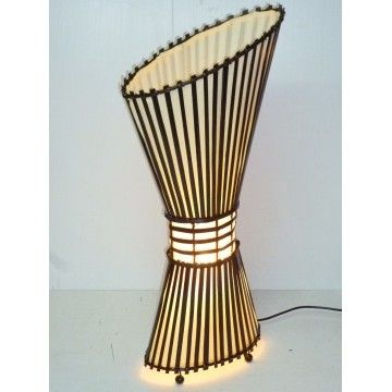 Rattan lamp with Slope Top 80cm Cream