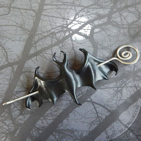 Black Bat Gothic Barrette - Leather Hair Slide With Silver Spiral Wire Stick