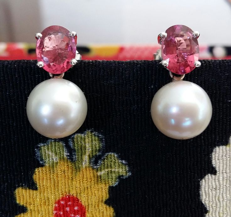 South Sea Pearls & Spinels Earrings. South Sea Pearls  round 12.5 mm. Spinels 4.65 carats. Mounted in 18K white gold. GIA certified. www.gutgalgems.com