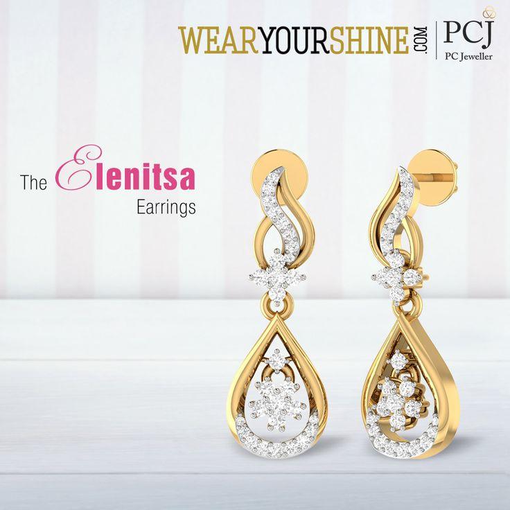 "Glam up your life with the marvelous ""Elenitsa Earrings"" by WearYourShine #WearYourShine #PCJeweller #Earrings #DiamondEarrings #LoveForJewellery #IndianJewellery #Jewelry."
