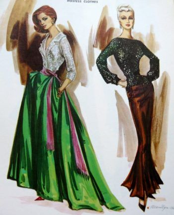 1950s Hostess gowns made with skirt and blouse seperates