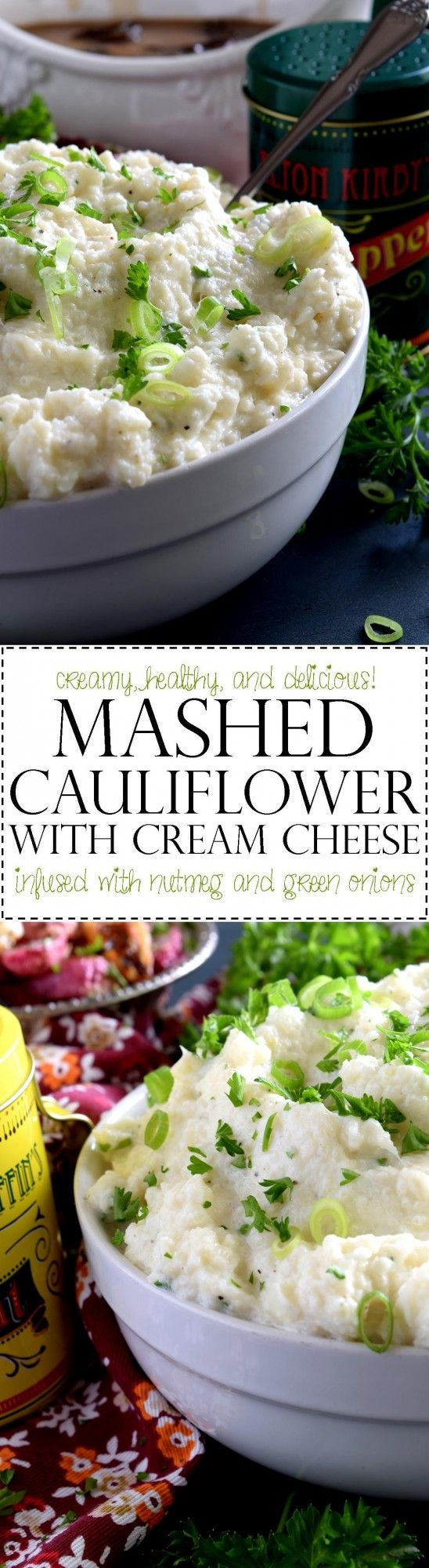 A mashed potato substitute that's health conscious and free of butter and heavy cream. Mashed Cauliflower with Cream Cheese is creamy, flavourful, and delicious. The addition of fresh green onions adds a crisp, refreshing taste.