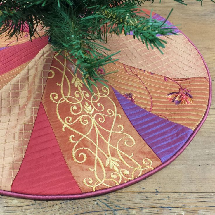 "23"" Mini Christmas Tree Skirt, Crazy Bohemian Patchwork, small tabletop, vibrant jewel tones, purple orange red by FeeneyLane on Etsy"