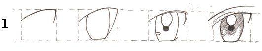 Ilustração de como desenhar olhos em estilo mangá