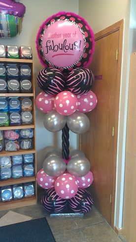 Boa's, polka dots and jungle zebra column of balloons for birthday