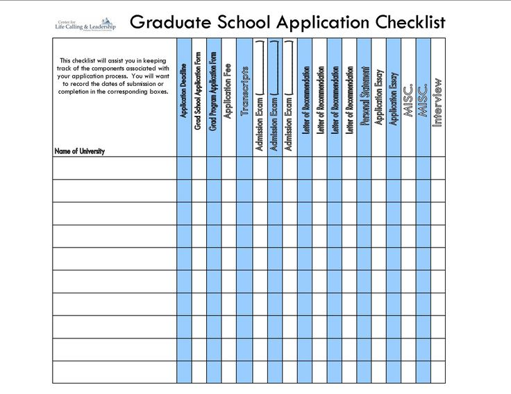 Grad School Application Checklist Quik Sheet.jpg 1,650×1,275 pixels