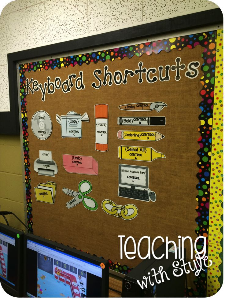 Computer Lab Decoration For Primary School : Give kids a visual of keyboard shortcuts to help things go