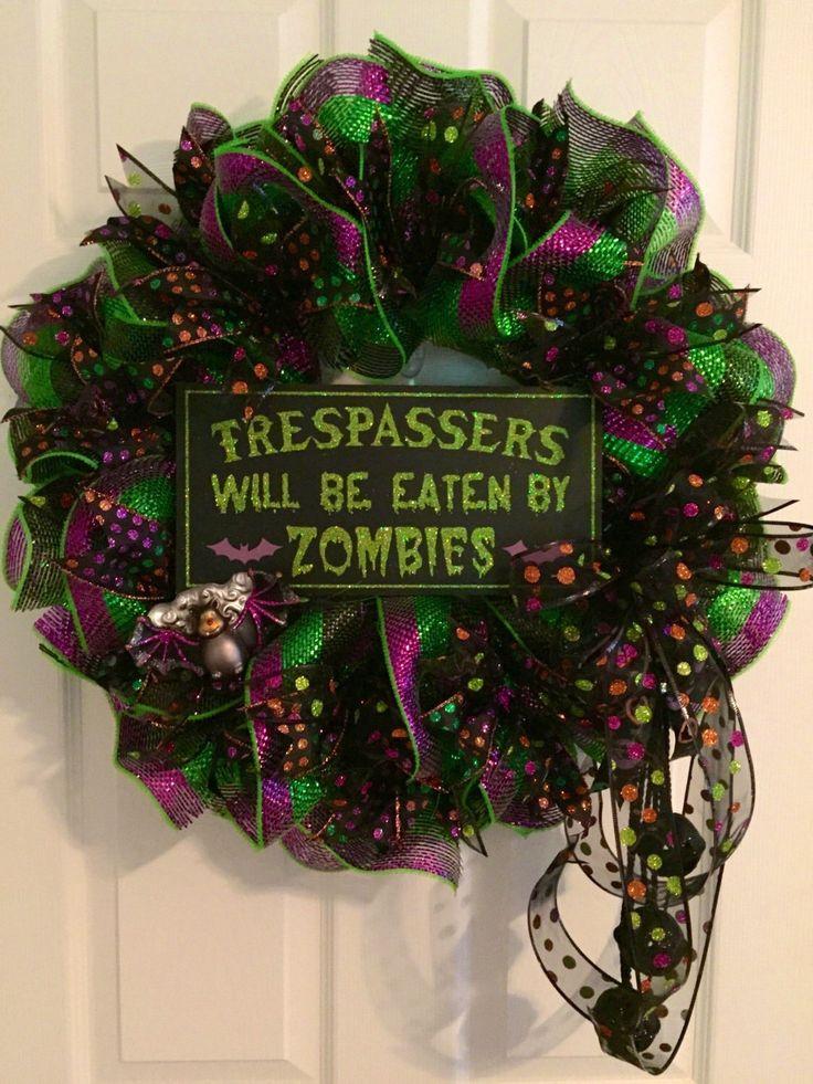 Halloween Wreath, Zombie Wreath, Deco Mesh Wreath, Halloween Door Wreath, Fall Wreath, Autumn Wreath, Bat Wreath by RoesWreaths on Etsy https://www.etsy.com/listing/248764945/halloween-wreath-zombie-wreath-deco-mesh
