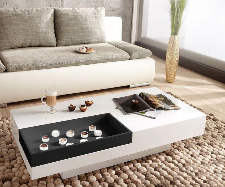 Couchtisch Magica 120x60 Hochglanz Weiss Schwarz Einfach - wohnzimmertisch hochglanz weiß