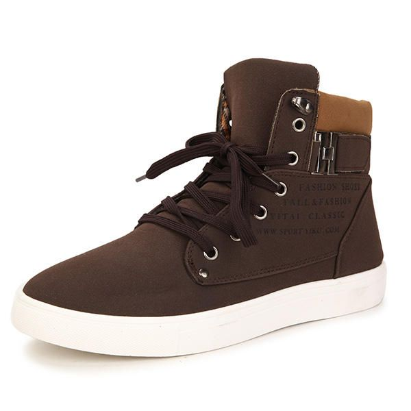 Men Matte-leather High Top Causal Sneakers Breathable Sports Shoes - US$24.06
