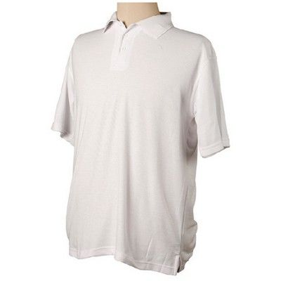 Pique Branded Polo Shirt White (Unisex) Min 25 - 220 gsm poly/ cotton pique knit. #CheapPoloShirts #PoloShirts #PromotionalProducts #PromotionalPoloShirts