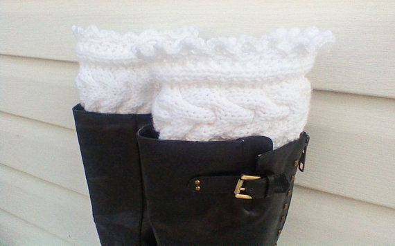 Snow white knit leg warmers cable boot tops by HandmadeTrend, $25.00