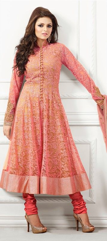 413015: Pink and Majenta color family semi-stiched Bollywood Salwar Kameez.