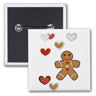 Gingerbread Man and Edible Hearts Button