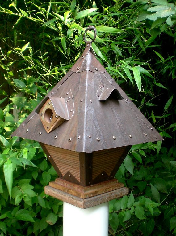 The Diving Bell: Arts and Crafts/Craftsman Style Birdhouse From Reclaimed Barn Wood and Metal Roofing, by Roundhouse Works on Etsy ($225)