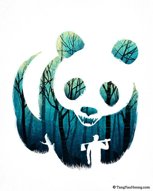 Negative space illustrations will make you double-take.: Forests Art, Inspiration, Yau Hoong, Negative Spaces, Tang Yau, Art Prints, Posters Design, Pandas Illustrations, Ray Ban