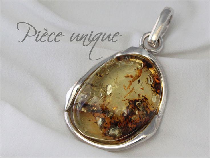 Pendentif ambre cognac de la Baltique, monture baroque rectangulaire argent sterling 925