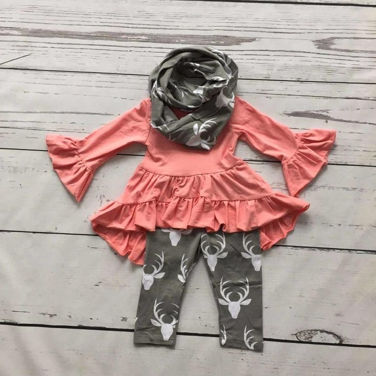 2016 FALL/Winter scarf set children cotton suit baby reindeer baby girls 3pieces grey ruffles print pants boutique clothes kids