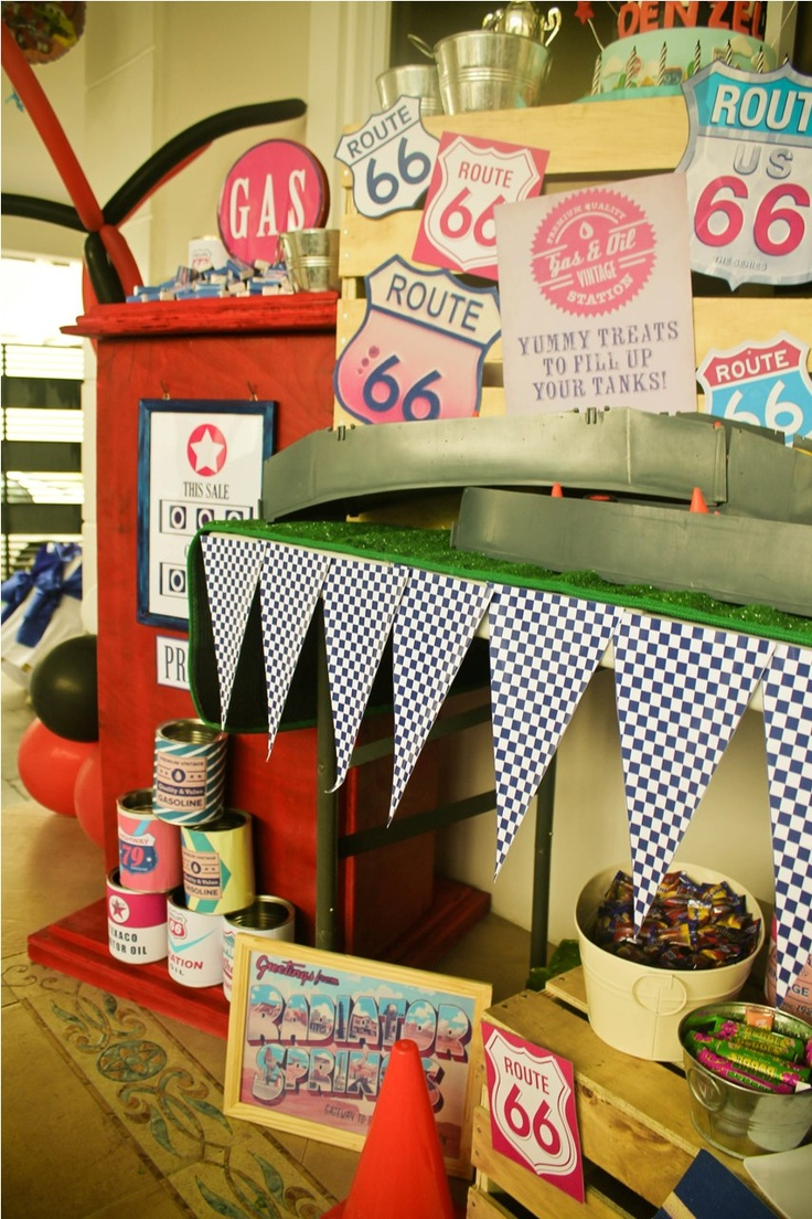 Disney Cars Radiator springs candy buffet, diy, party ideas, decorations, birthday, kids