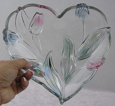 $30.00  Mikasa Crystal Tivoli Pink & Blue Tulip Flower Heart Shaped Serving Dish Bowl
