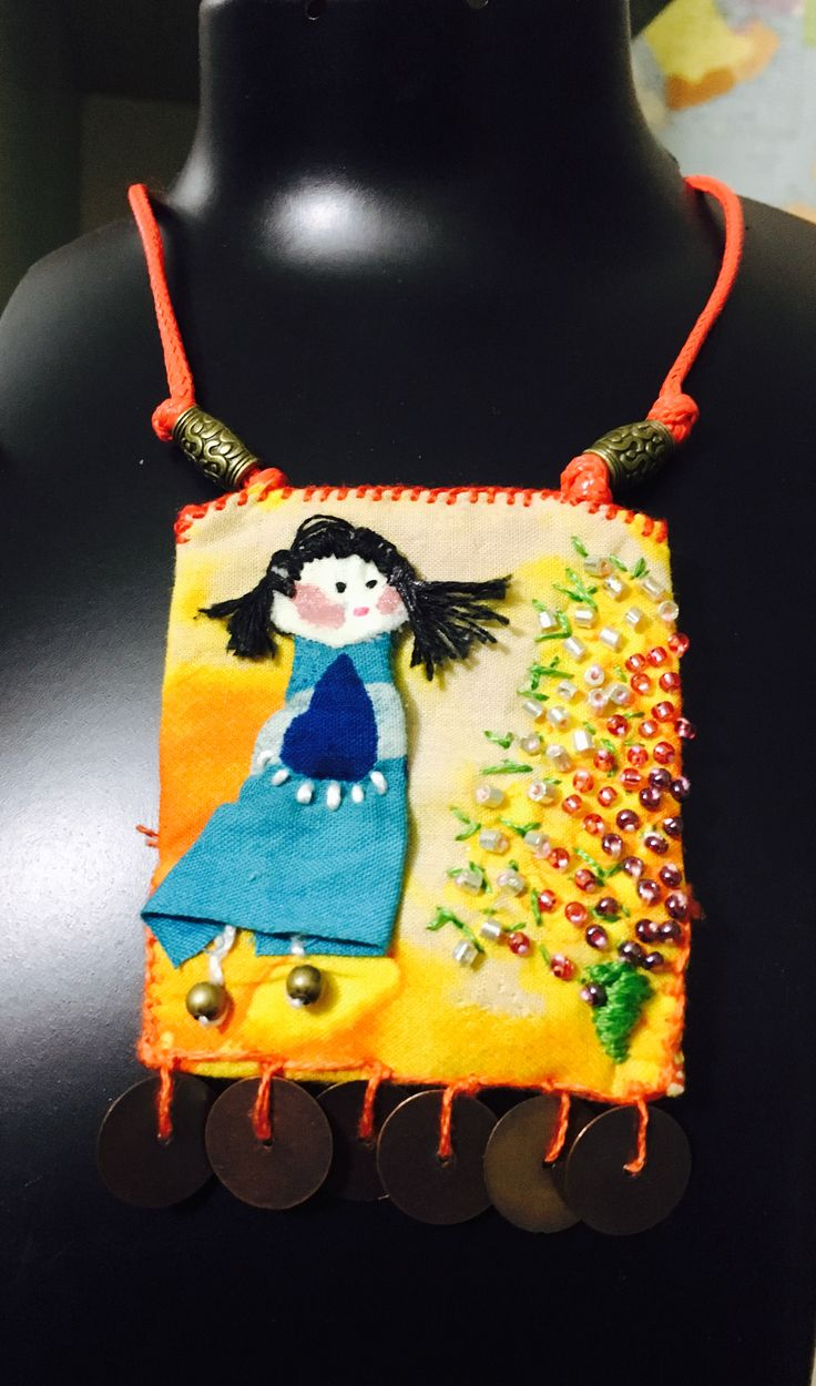 Girl appliqué on vibrant yellow base pendant necklace