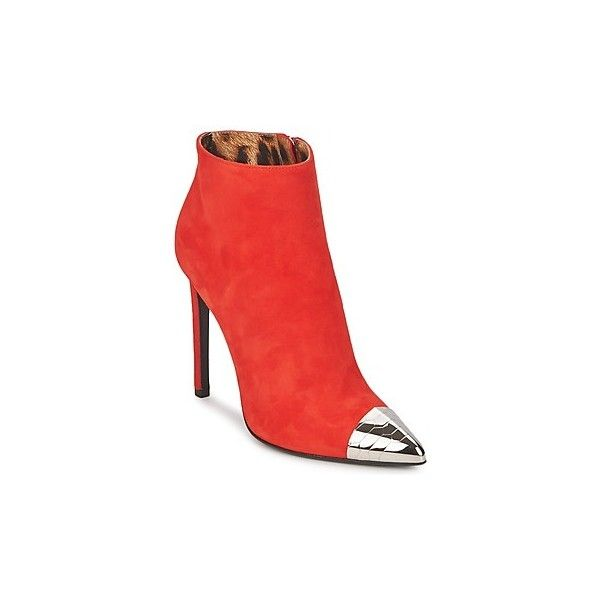 Roberto Cavalli WDS213 Low Ankle Boots (925 CAD) ❤ liked on Polyvore featuring shoes, boots, ankle booties, red, bootie boots, ankle bootie boots, low ankle boots, red boots and red ankle boots
