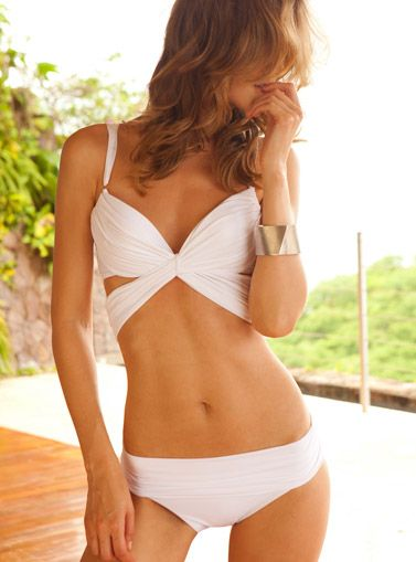 If I lust after it enough, will it magically go on sale?? Classic white bikini with a gorgeous cut.