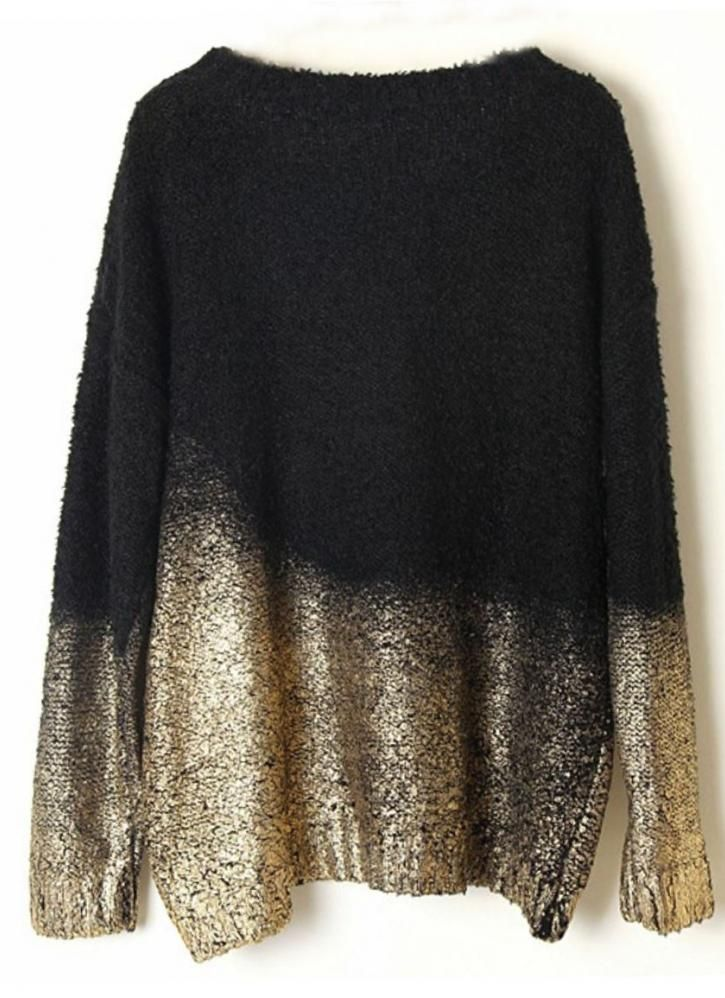 Black Batwing Gold Dipped Knit