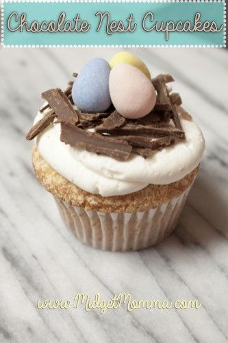 Chocolate nest cupcakes made with homemade buttercream icing. these are perfect for Easter!!