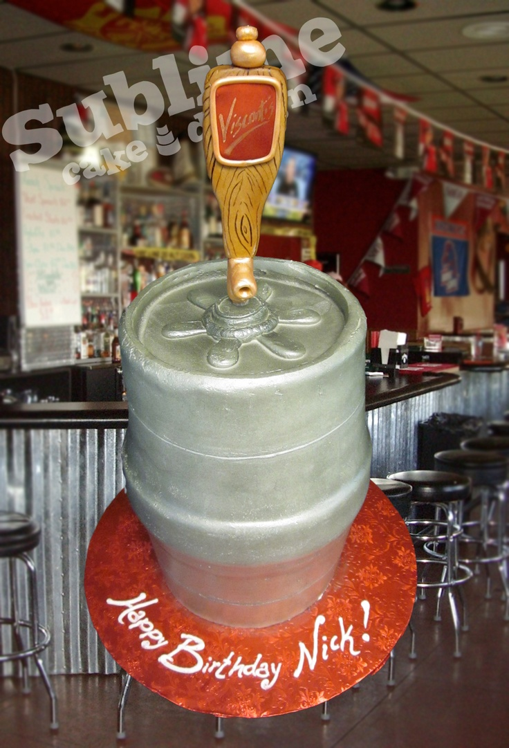 Beer Flavored Keg Cake With Custom Tap Handle Www