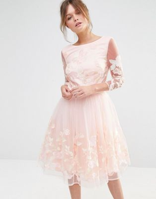 Chi Chi London Premium Midi Prom Dress with Embrodery