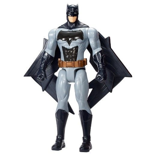 """Recreate powerful Justice League movie action with this deluxe Batman figure featuring lights and sounds! Inspired by the new movie, Batman comes in 12"""" scale with 5 points of articulation, iconic details, an enhanced Batsuit and dramatic lights and sounds. Simply pull the tab on the figure's back to pop its wings out, activate its light up chest and hear his signature phrases. The full assortment also includes Tech Blast Cyborg, Thermal Power Superman and Lightning Strike..."""