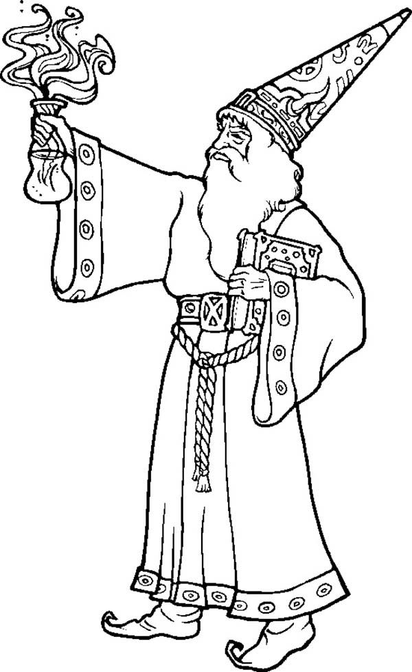 Merlin The Wizard Bring Magic Potion Coloring Pages : Bulk ...