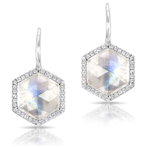 Anne Sisteron  14KT White Gold Diamond Moonstone Hexagon Earrings (923,925 KRW) ❤ liked on Polyvore featuring jewelry, earrings, white, moonstone jewelry, white jewelry, diamond jewelry, diamond jewellery and hexagon jewelry