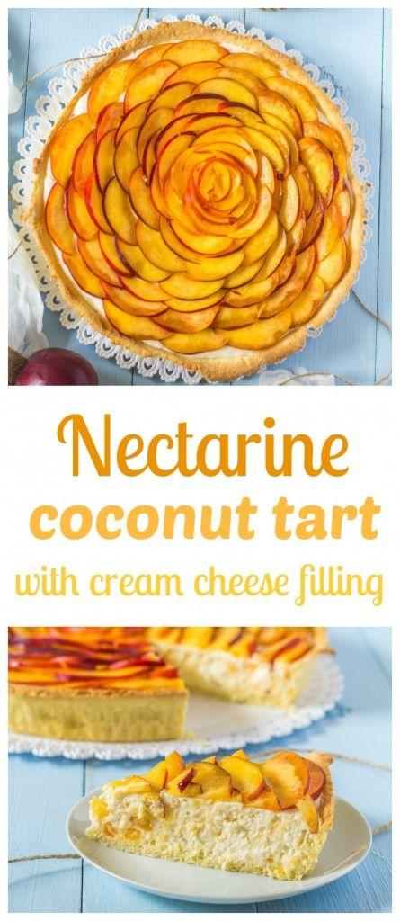 Summer tart with nectarines, a bit of coconut, cream cheese and whipped cream filling