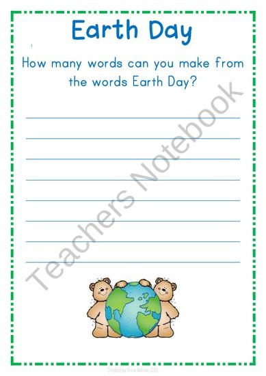 FREE Earth Day - How many words? from Anna Watson on TeachersNotebook.com (2 pages)
