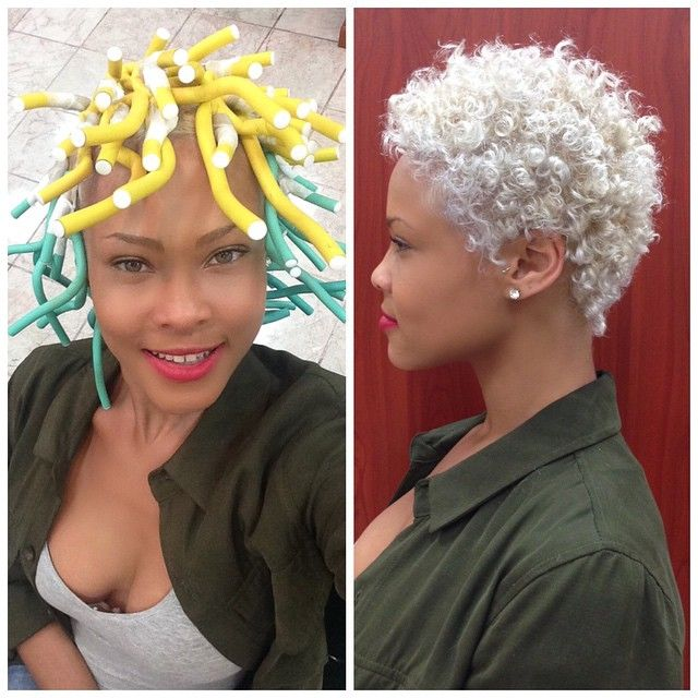 Platinum natural hair fro Salon Christol @salonchristol How to use flexi rods on natural and relaxed hairstyles, tutorials for short and long hair, big curls http://www.shorthaircutsforblackwomen.com/flexi-rods-on-natural-hair/