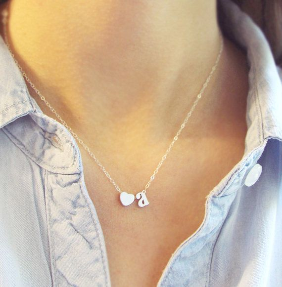 Tiny Silver Initial Necklace with Heart by amandadeer on Etsy