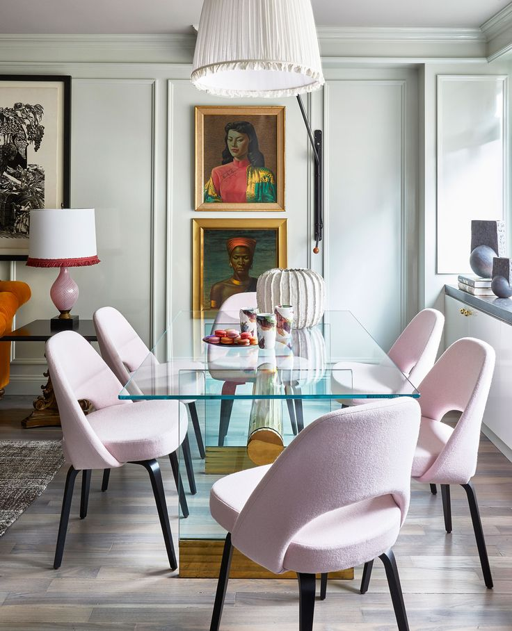 pink Knoll dining room chairs, glass dining room table, mixing styles